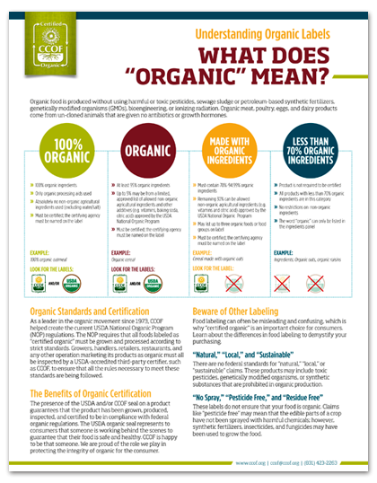 Fact Sheets Ccof Organic Certification Education And Outreach